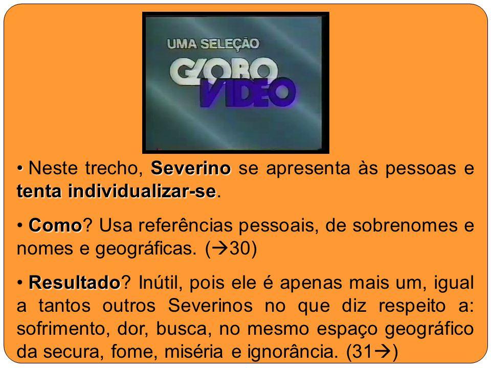 Neste trecho, Severino se apresenta às pessoas e tenta individualizar-se.