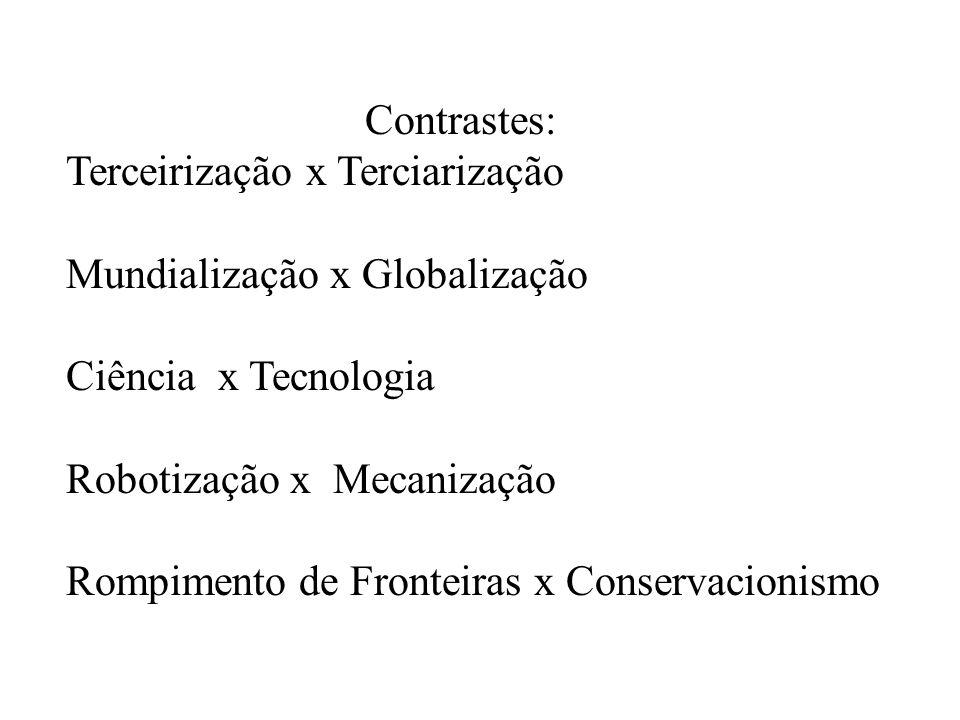 Contrastes:Terceirização x Terciarização. Mundialização x Globalização. Ciência x Tecnologia. Robotização x Mecanização.