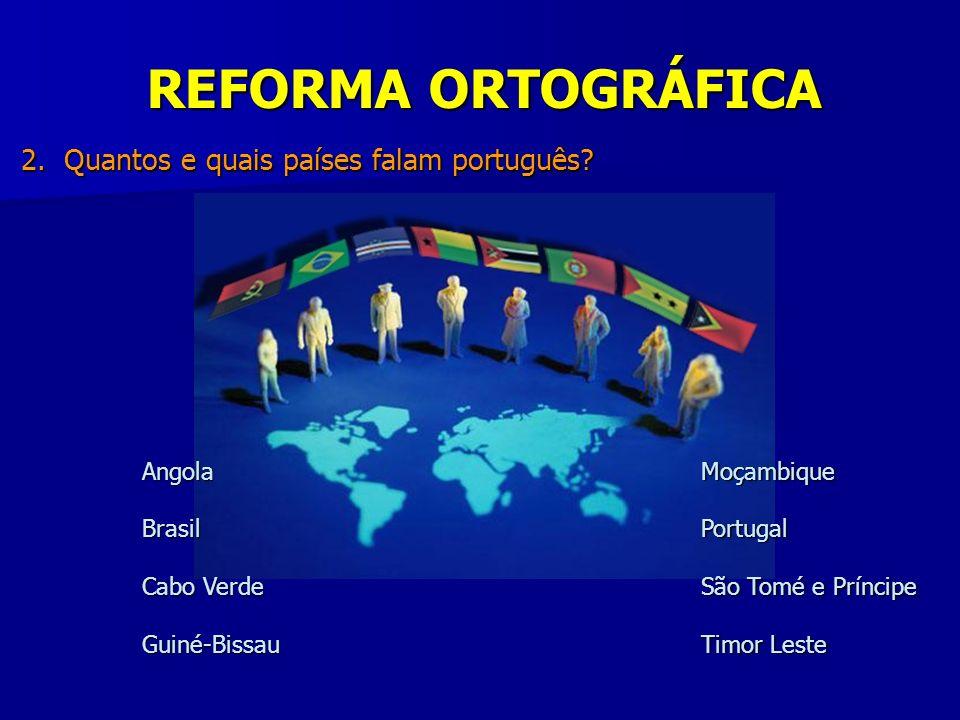 REFORMA ORTOGRÁFICA 2. Quantos e quais países falam português Angola