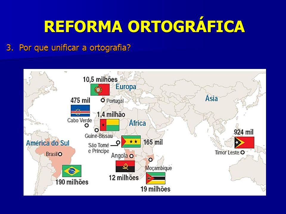REFORMA ORTOGRÁFICA 3. Por que unificar a ortografia Português :