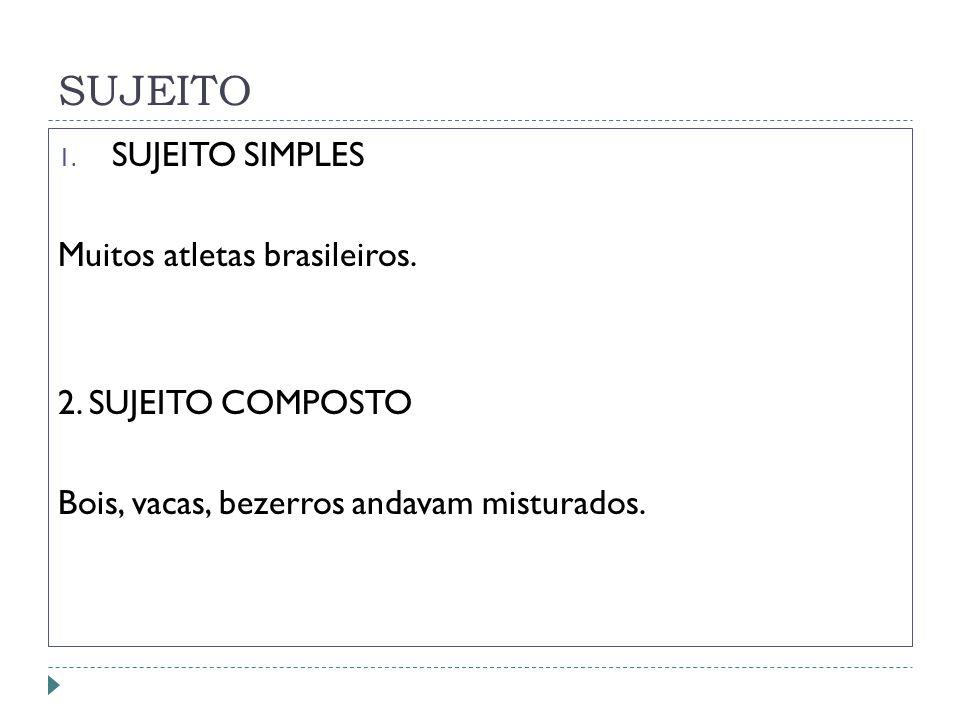 SUJEITO SUJEITO SIMPLES Muitos atletas brasileiros.