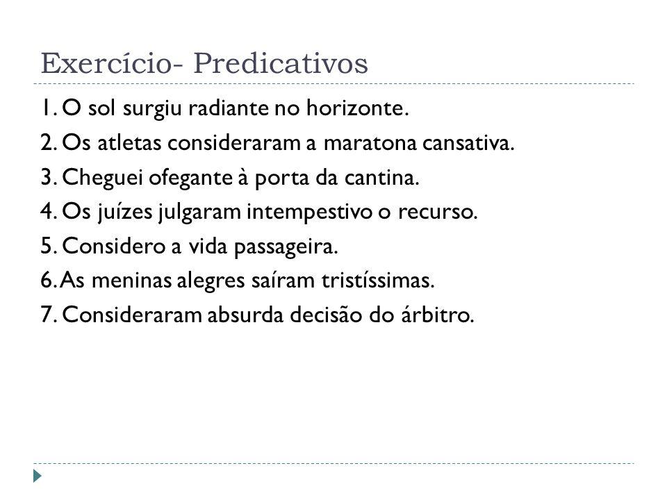 Exercício- Predicativos
