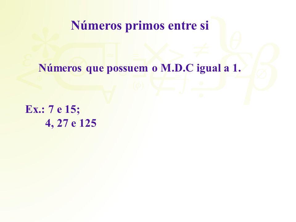 Números primos entre si Números que possuem o M.D.C igual a 1.