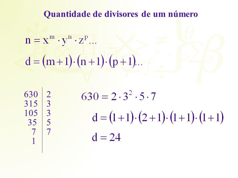 Quantidade de divisores de um número
