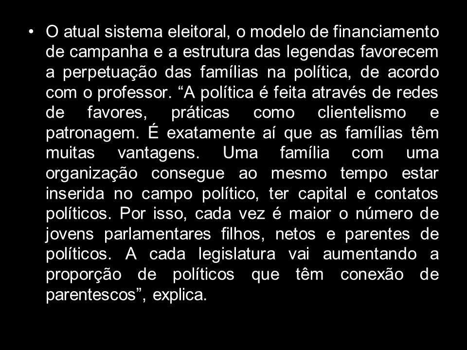 O atual sistema eleitoral, o modelo de financiamento de campanha e a estrutura das legendas favorecem a perpetuação das famílias na política, de acordo com o professor.
