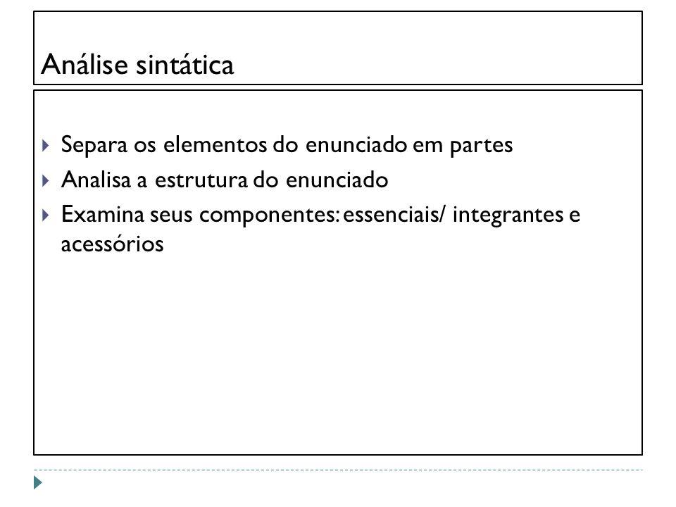 Análise sintática Separa os elementos do enunciado em partes