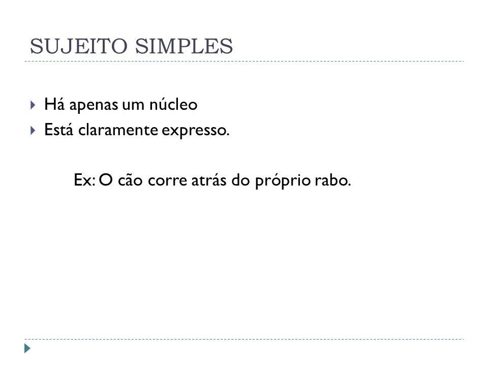 SUJEITO SIMPLES Há apenas um núcleo Está claramente expresso.