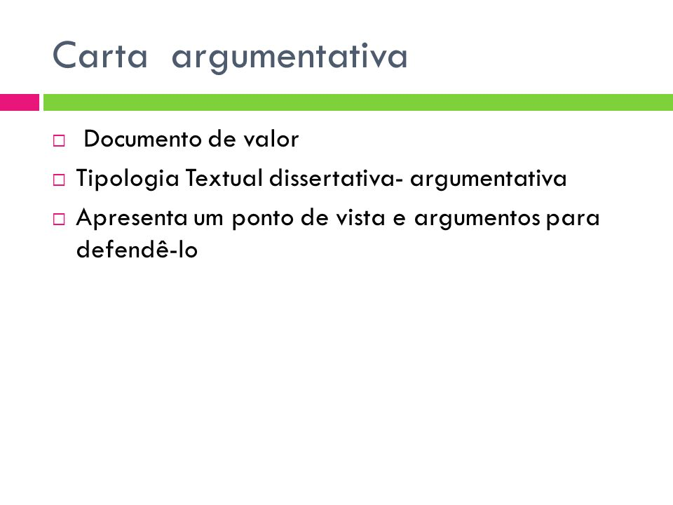 Carta argumentativa Documento de valor