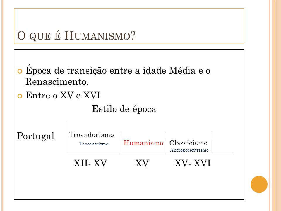 O que é Humanismo Época de transição entre a idade Média e o Renascimento. Entre o XV e XVI. Estilo de época.
