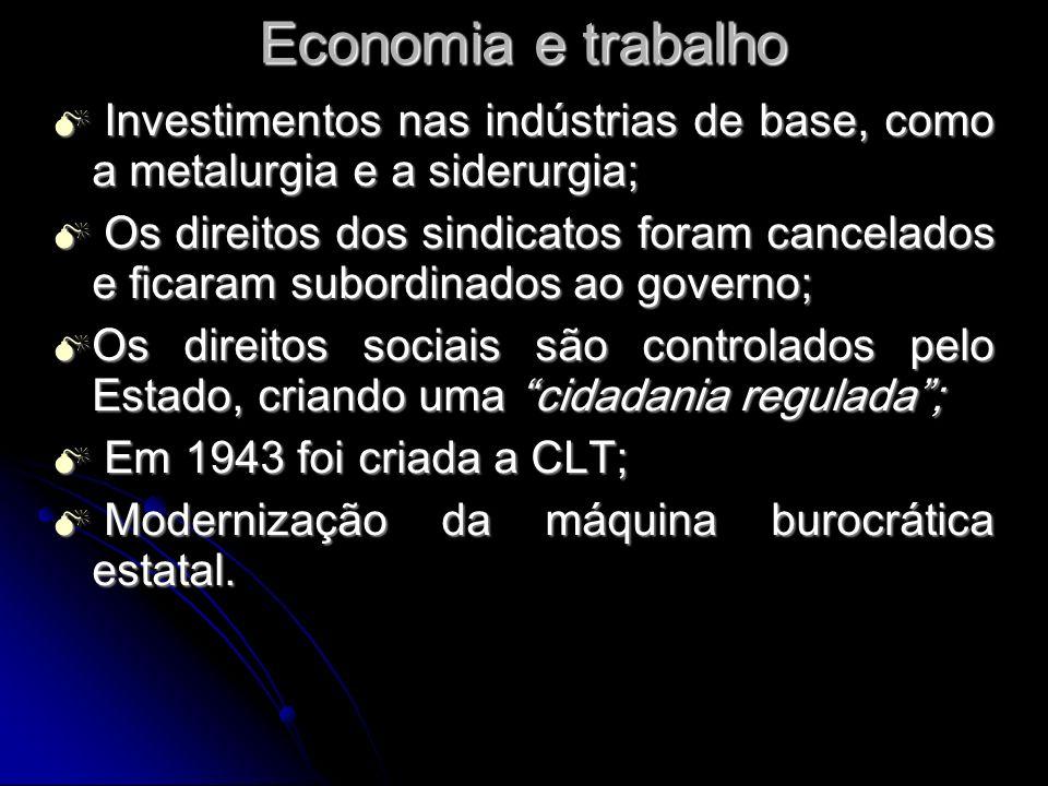 Economia e trabalho Investimentos nas indústrias de base, como a metalurgia e a siderurgia;