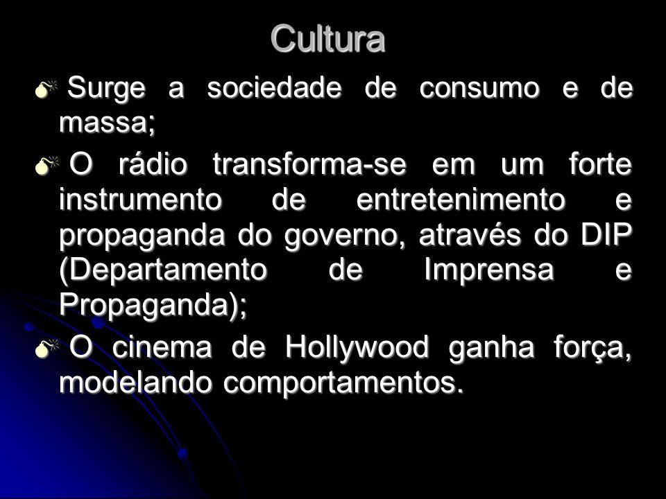 Cultura Surge a sociedade de consumo e de massa;