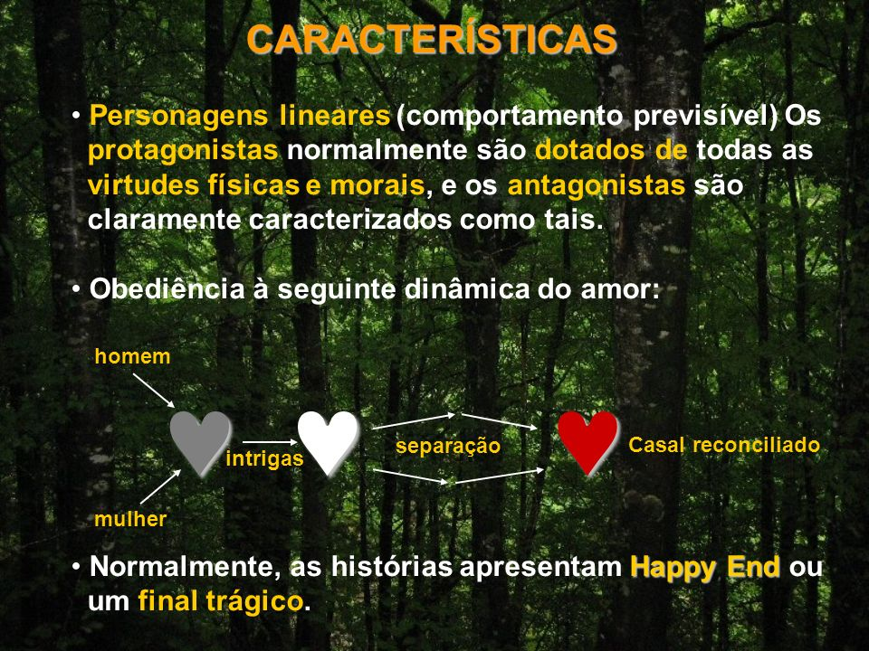 © CARACTERÍSTICAS Personagens lineares (comportamento previsível) Os