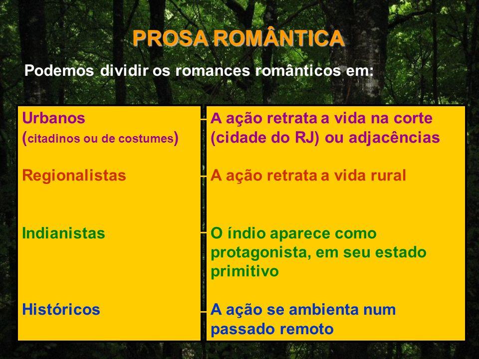 PROSA ROMÂNTICA Podemos dividir os romances românticos em: Urbanos