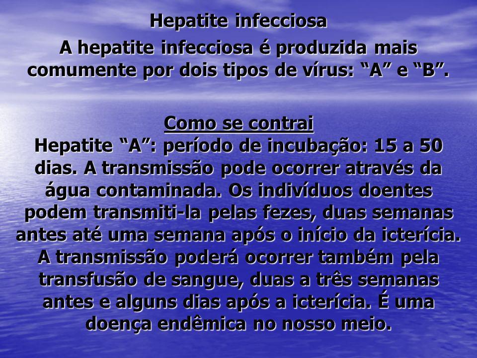 Hepatite infecciosa A hepatite infecciosa é produzida mais comumente por dois tipos de vírus: A e B .