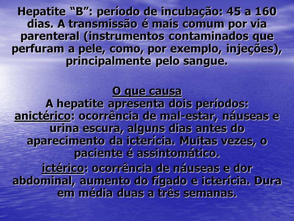 Hepatite B : período de incubação: 45 a 160 dias