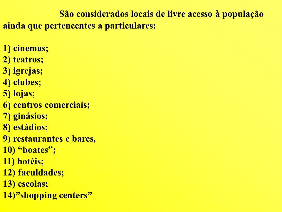 São considerados locais de livre acesso à população ainda que pertencentes a particulares: