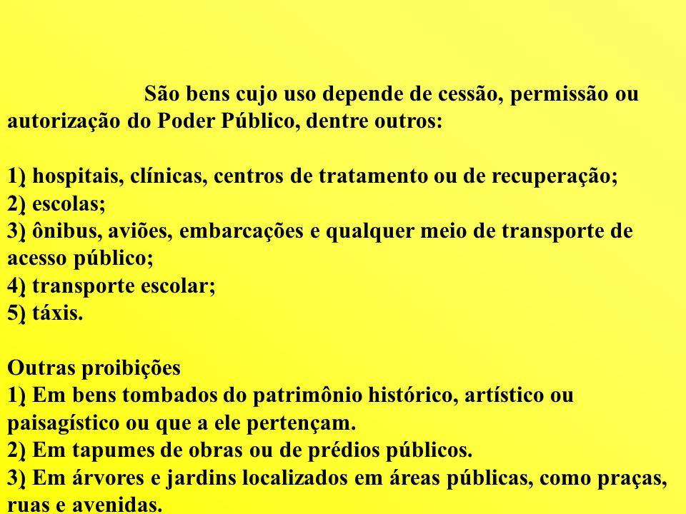 São bens cujo uso depende de cessão, permissão ou autorização do Poder Público, dentre outros: