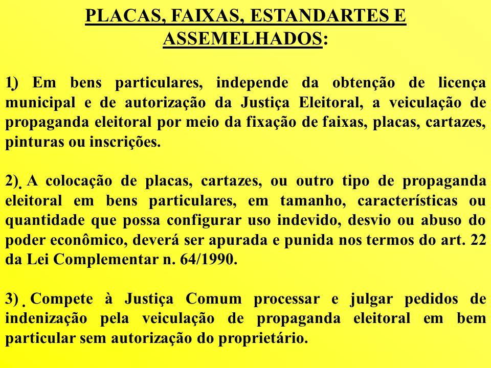 PLACAS, FAIXAS, ESTANDARTES E ASSEMELHADOS: