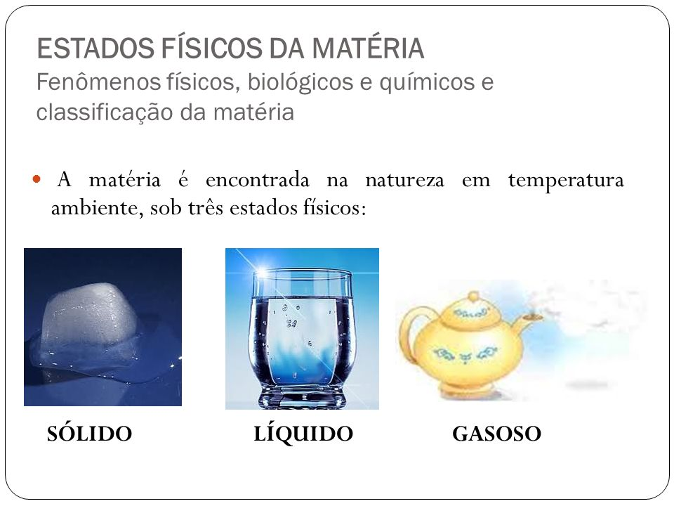 ESTADOS FÍSICOS DA MATÉRIA Fenômenos físicos, biológicos e químicos e classificação da matéria
