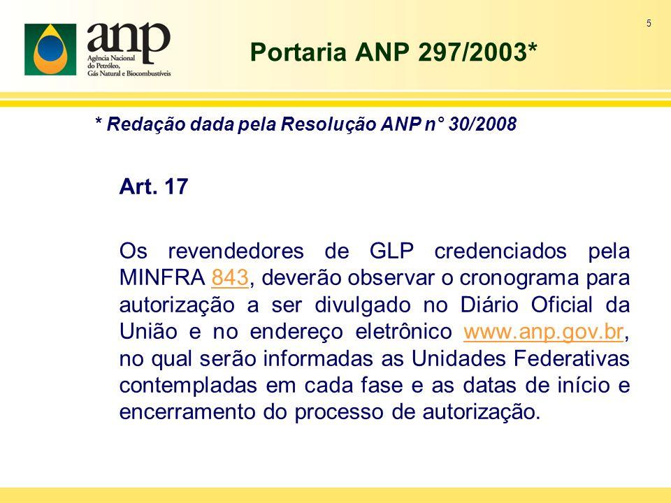 Portaria ANP 297/2003* * Redação dada pela Resolução ANP n° 30/2008. Art. 17.