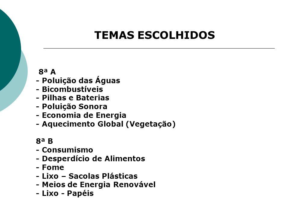 TEMAS ESCOLHIDOS 8ª A - Poluição das Águas - Bicombustíveis