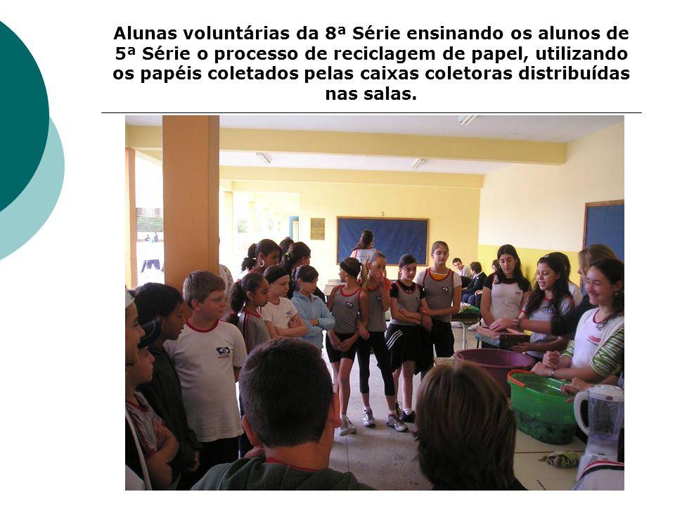 Alunas voluntárias da 8ª Série ensinando os alunos de 5ª Série o processo de reciclagem de papel, utilizando os papéis coletados pelas caixas coletoras distribuídas nas salas.