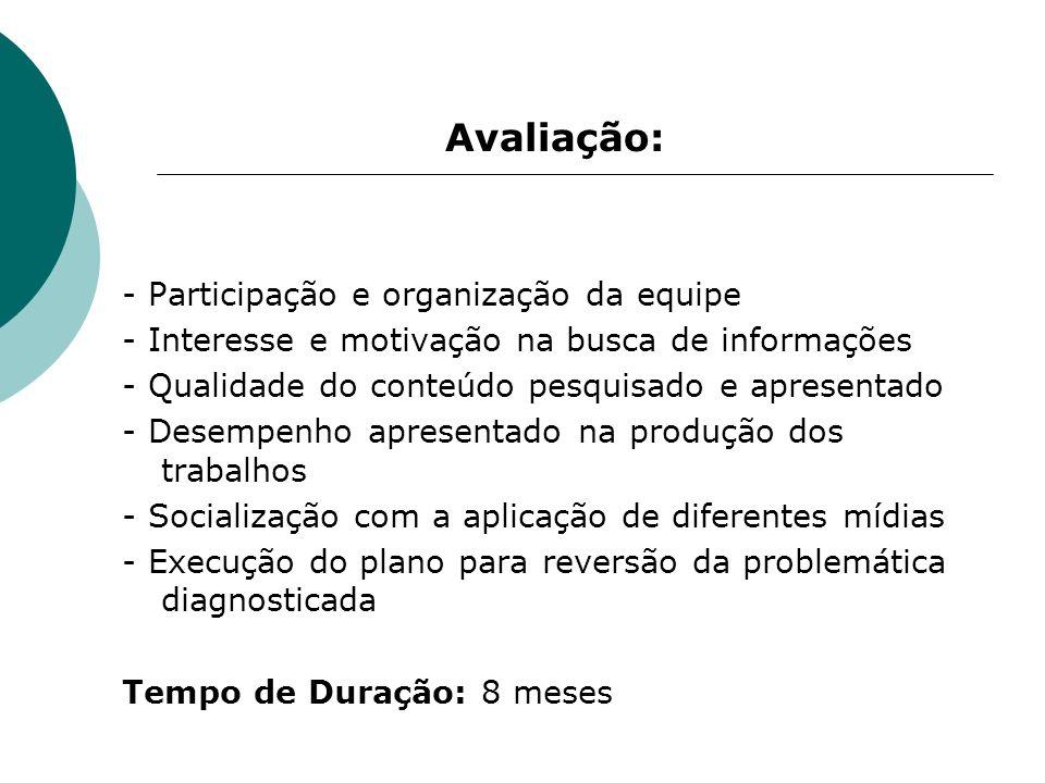 Avaliação: - Participação e organização da equipe