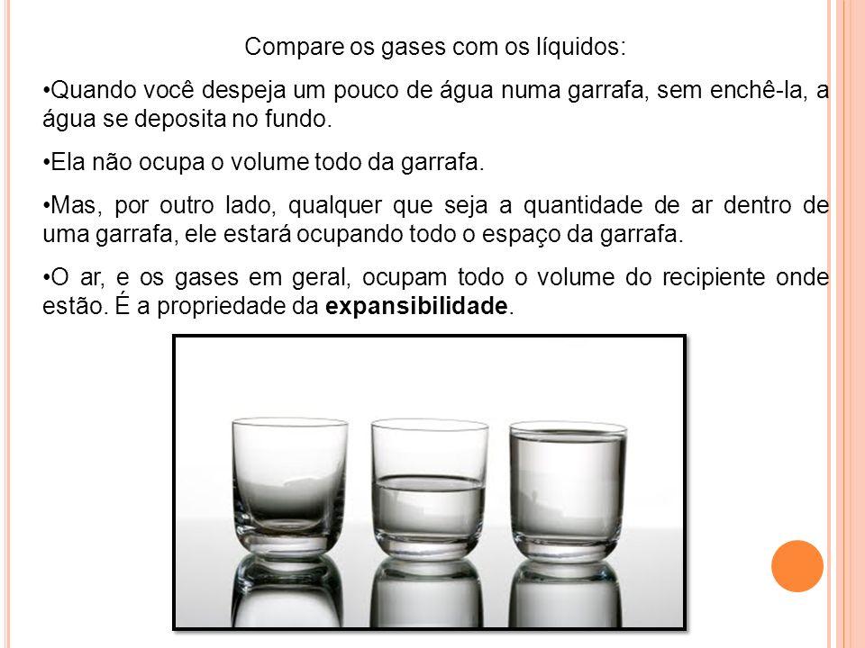 Compare os gases com os líquidos:
