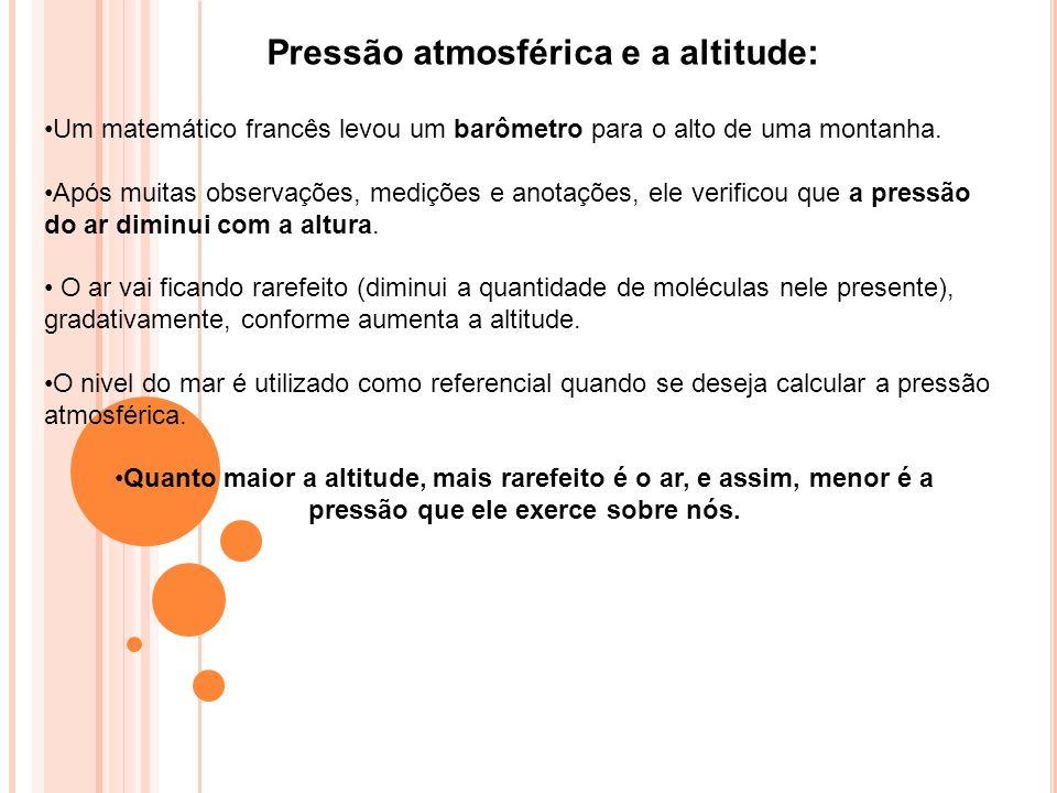 Pressão atmosférica e a altitude: