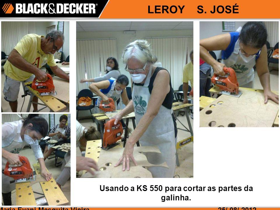 Usando a KS 550 para cortar as partes da galinha.