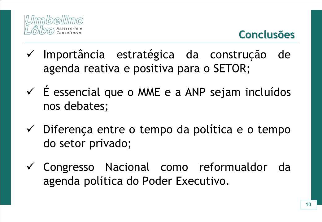 É essencial que o MME e a ANP sejam incluídos nos debates;