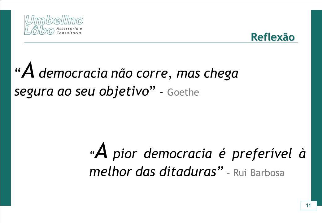 A democracia não corre, mas chega segura ao seu objetivo - Goethe