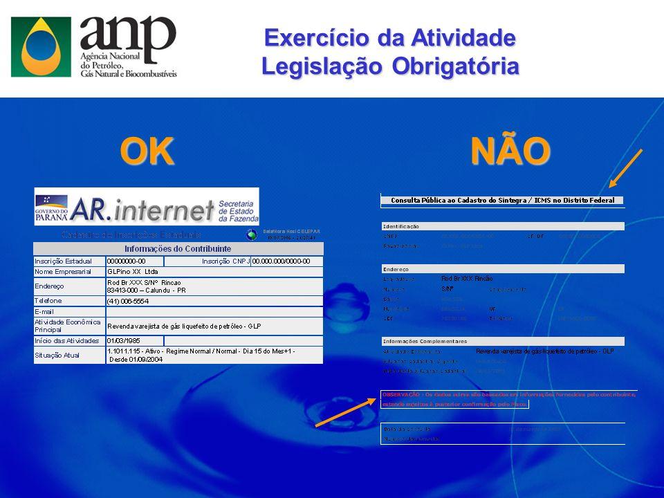 Exercício da Atividade Legislação Obrigatória
