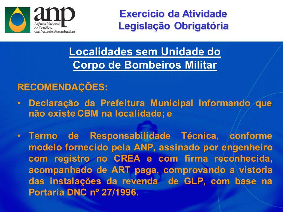Localidades sem Unidade do Corpo de Bombeiros Militar