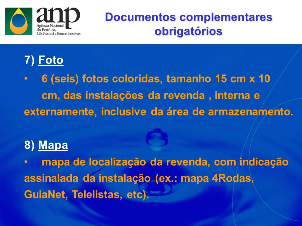 Documentos complementares obrigatórios