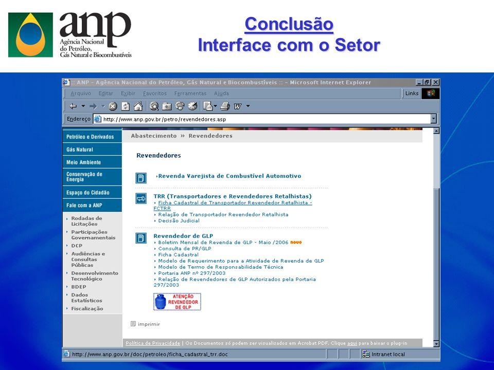 Conclusão Interface com o Setor
