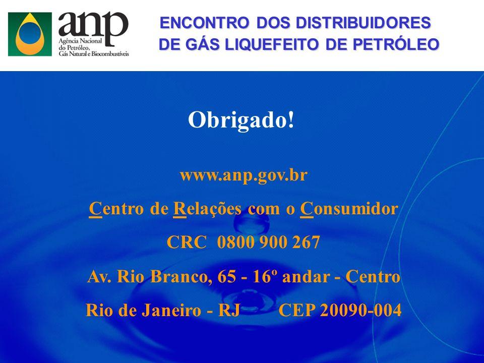Obrigado! www.anp.gov.br Centro de Relações com o Consumidor