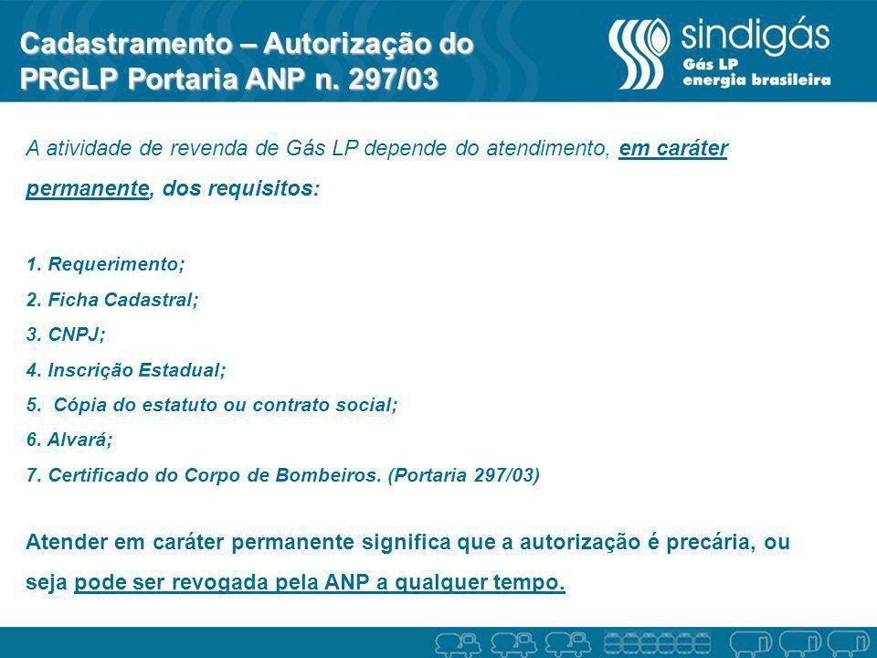 Cadastramento – Autorização do PRGLP Portaria ANP n. 297/03