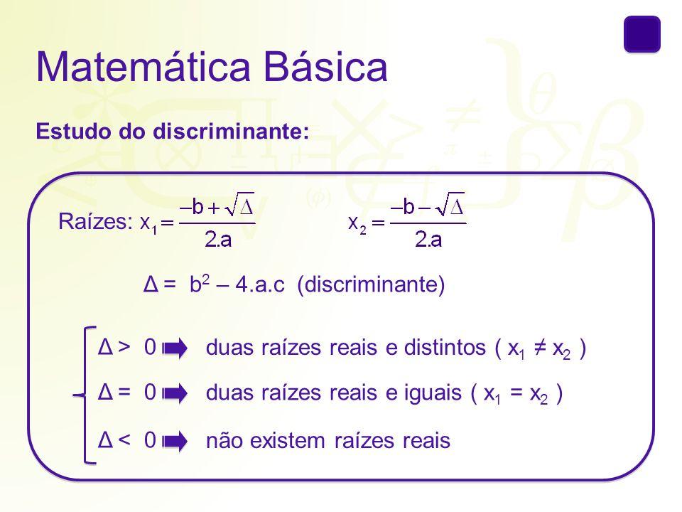 Matemática Básica Estudo do discriminante: Raízes: Δ = b2 – 4.a.c