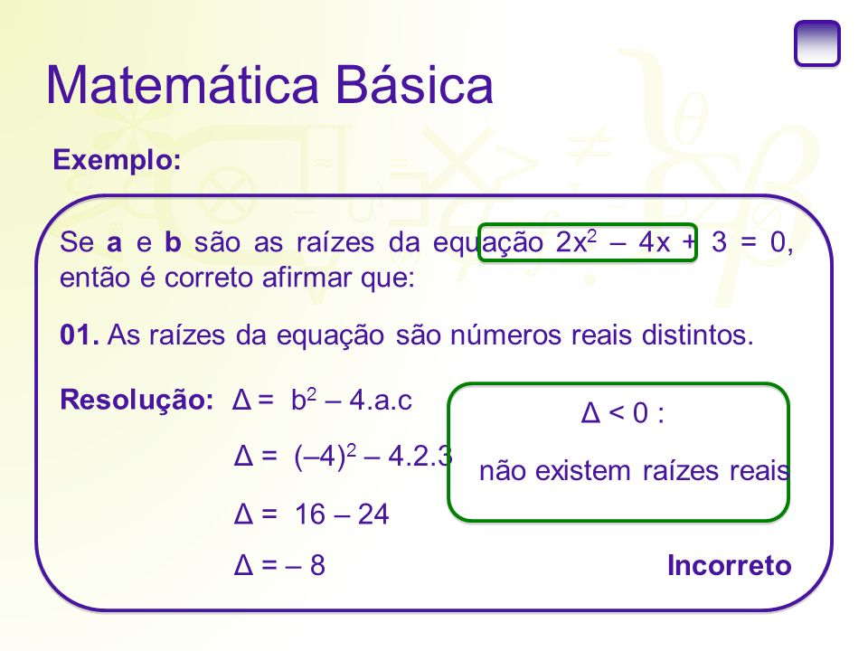 Matemática Básica Exemplo: