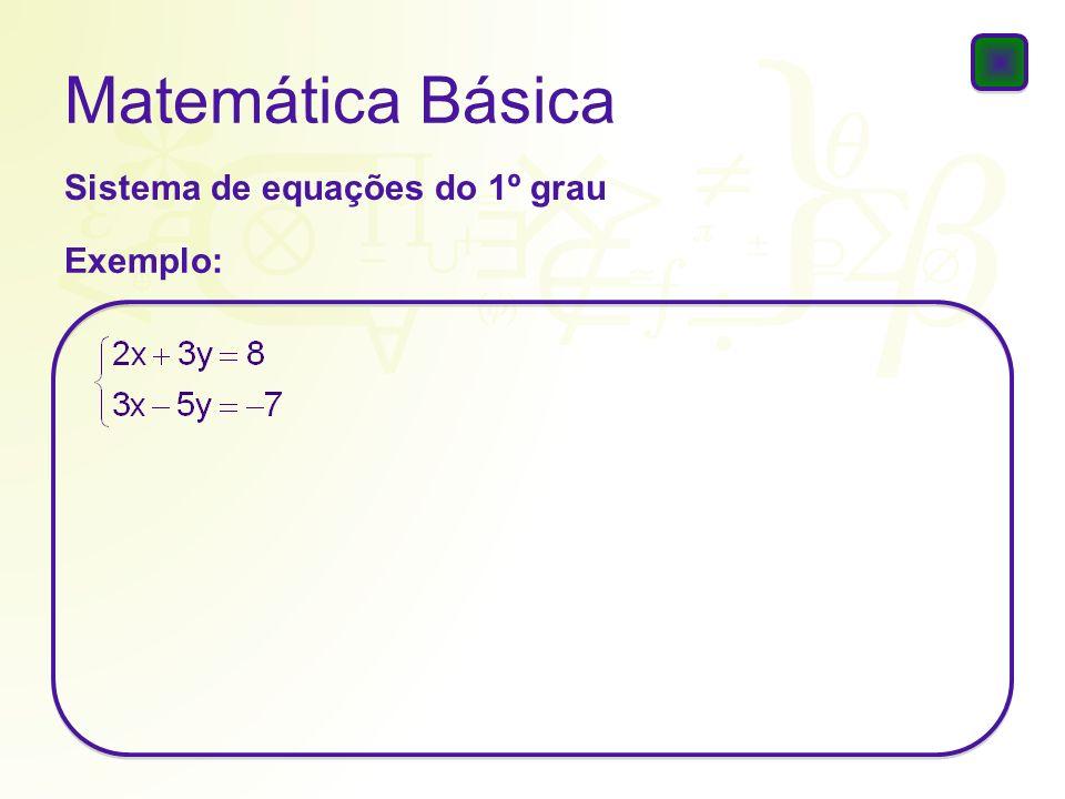 Matemática Básica Sistema de equações do 1º grau Exemplo: