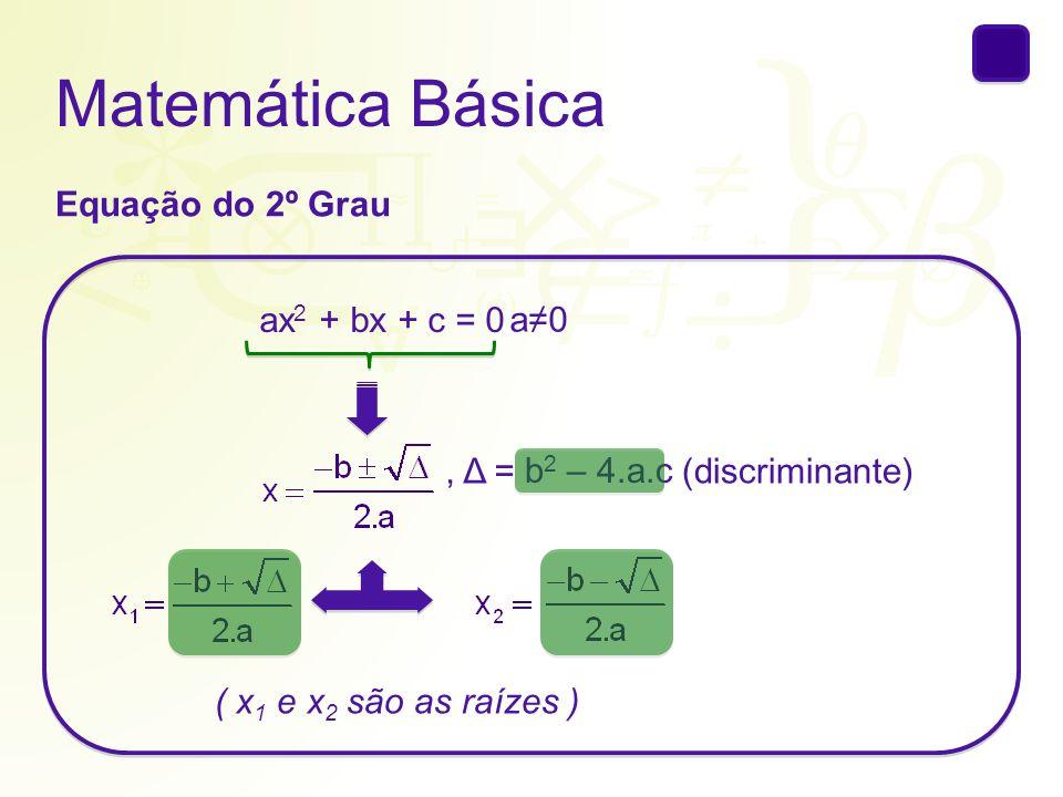 Matemática Básica Equação do 2º Grau ax2 + bx + c = 0 a≠0 , Δ =