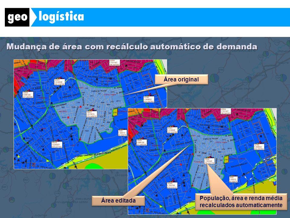 Mudança de área com recálculo automático de demanda