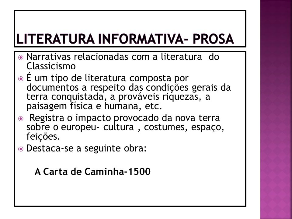 Literatura Informativa- Prosa