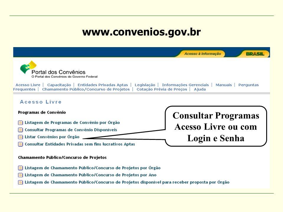 www.convenios.gov.br Consultar Programas Acesso Livre ou com
