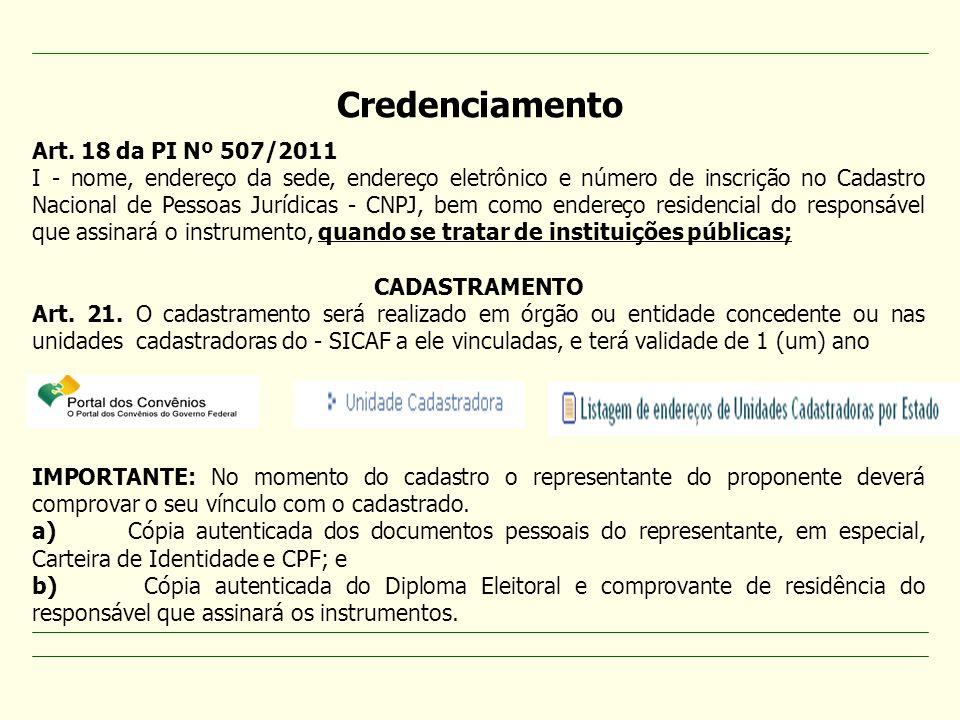 Credenciamento Art. 18 da PI Nº 507/2011