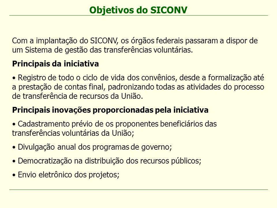 Objetivos do SICONV Com a implantação do SICONV, os órgãos federais passaram a dispor de um Sistema de gestão das transferências voluntárias.
