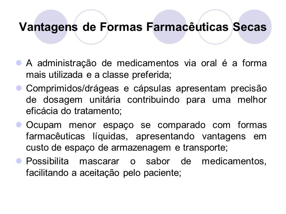 Vantagens de Formas Farmacêuticas Secas