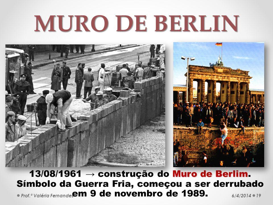 MURO DE BERLIN 13/08/1961 → construção do Muro de Berlim. Símbolo da Guerra Fria, começou a ser derrubado em 9 de novembro de 1989.