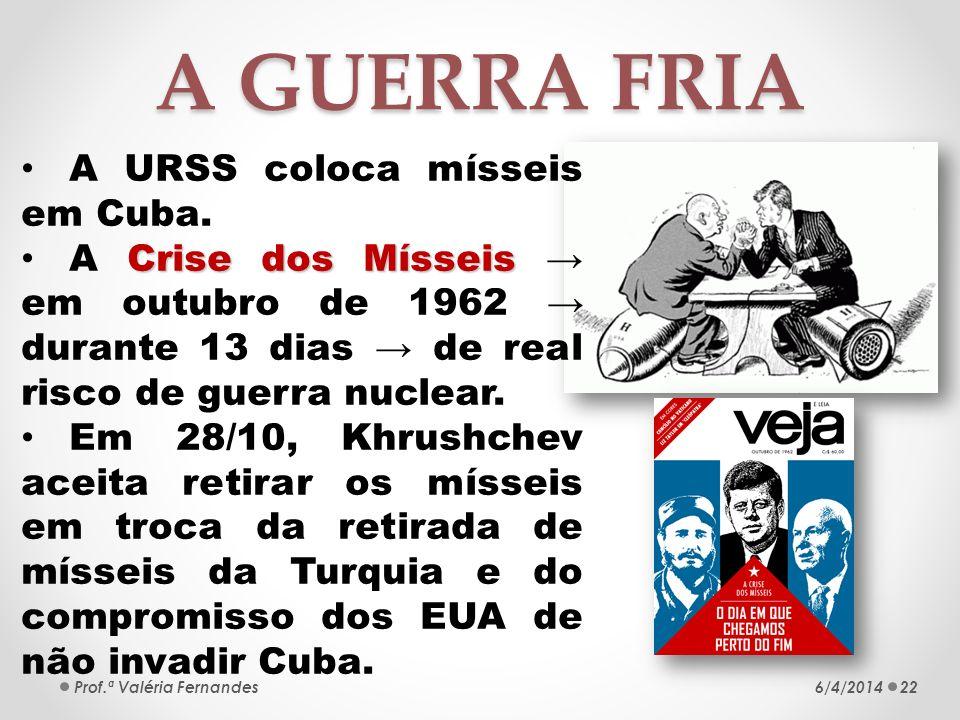 A GUERRA FRIA A URSS coloca mísseis em Cuba.